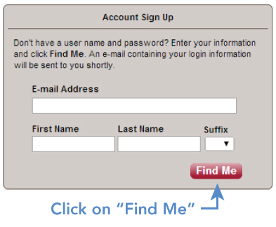 MyWellshire Account Sign Up Screen