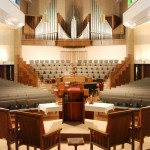 A view of the Casavant Freres organ, opus 3418 at Wellshire Presbyterian Church in Denver, Colorado.