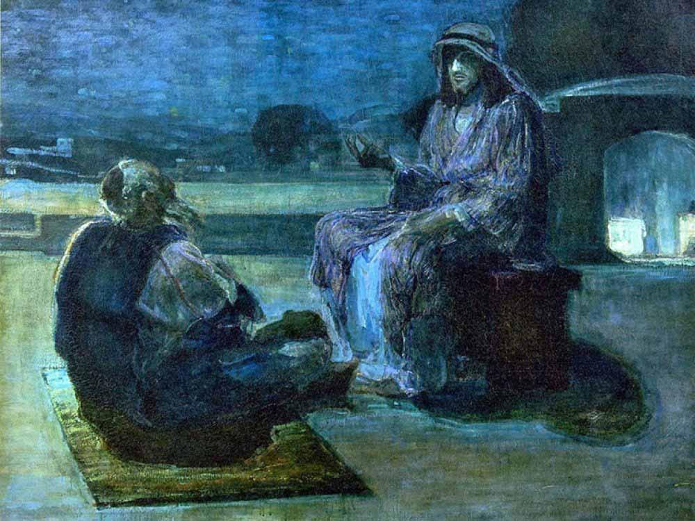 Sermon illustration art by Henry Ossawa Tanner - Christ and Nicodemus